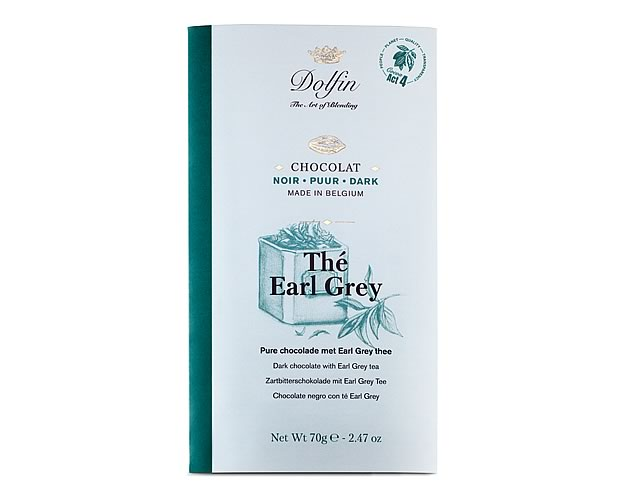 Dolfin Dark chocolate with Earl Grey tea (70g) - Click Image to Close