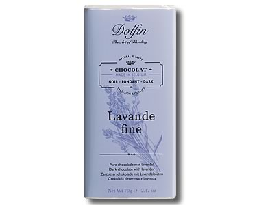 Dolfin Dark chocolate with Fine Lavender (70g) - Click Image to Close
