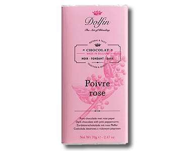 Dolfin Dark chocolate with Pink Peppercorns (70g) - Click Image to Close