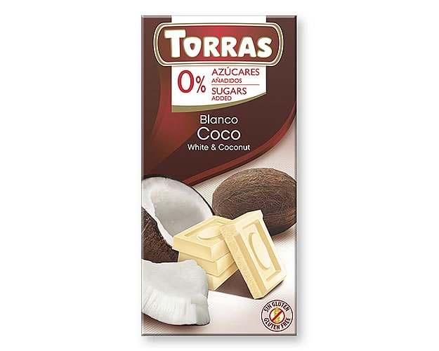 Torras White Chocolate with Coconut (Sugar Free) 75g - Click Image to Close