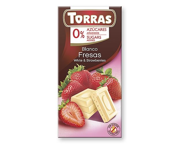 Torras White Chocolate with Strawberry (Sugar Free) 75g - Click Image to Close