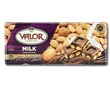 Valor Milk Chocolate with Almonds 250g - Click Image to Close