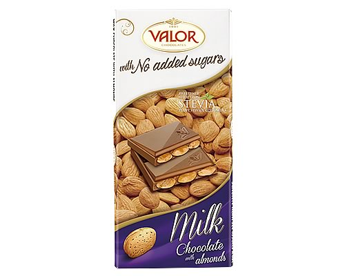 Valor (Sugar Free) Milk Chocolate with Almonds bar 150g - Click Image to Close