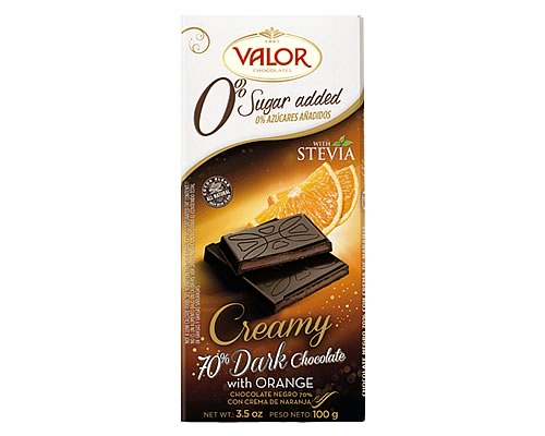 Valor (Sugar Free) 70% Dark Chocolate with Orange 100g - Click Image to Close