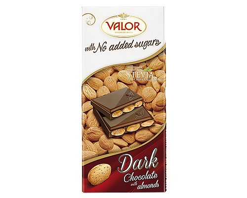 Valor (Sugar Free) Dark Chocolate with Almonds 150g - Click Image to Close