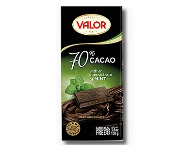 Valor 70% Dark Chocolate with Mint 100g - Click Image to Close
