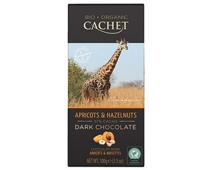 Cachet Organic Dark Chocolate with Apricots and Hazelnuts