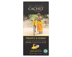 Cachet Organic Dark Chocolate with Pineapple and Coconut