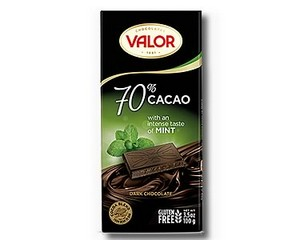 Valor 70% Dark Chocolate with Mint 100g